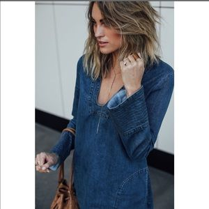 Free People Fp Boho L/S Denim Pullover Tunic M